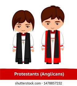 Protestants (Anglicans). Pastors. Man and woman. Cartoon character. Vector flat illustration.