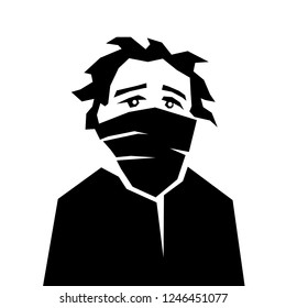 Protester and demonstrator with covered face by scarf. Young person of unknown identity is sad and desperate. Anarchist stencil art aesthetics.