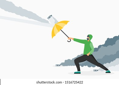 Protester use umbrella to avoid tear gas and face recognition surveillance camera illustration vector and design. Riot and demonstration concept element.  Suitable for infographic