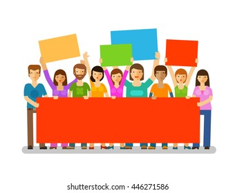 Protesters with banners. Manifestation, protest, society icon. Vector illustration