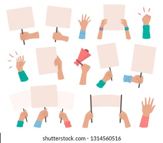 Protesters banners. Manifestation sign placard hold in hand, peace protest poster and blank vote placards. Demonstration activist speech or activist rally isolated vector icons set