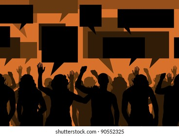 Protesters crowd and speech bubbles colorful landscape background illustration