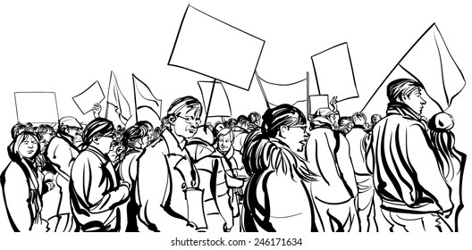 Protesters crowd walking in a demonstration - vector illustration