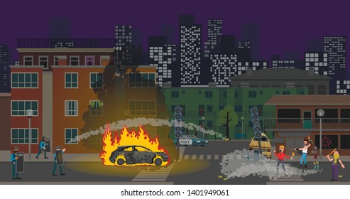 Protesters are fighting with the police, set fire to the car, throwing molotov cocktails. Vector stock illustration.