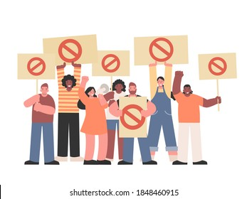 Protesters holding Megaphone and stop signs for Protest about human rights. Peoples campaigning Stop the Oppression of Black People or black live matter.