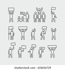 Protesters vector icons