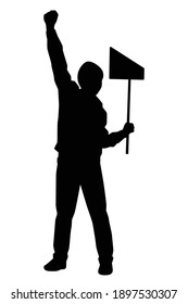Protesting man silhouette vector on white background