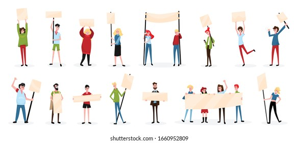 Protesting people activist sign board set with isolated characters of protesters with empty placards and shadows vector illustration