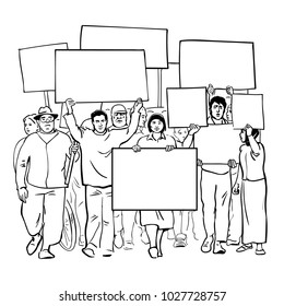 Protesting people with blank signs. Crowd with empty banners. Mass demonstration of protest. Hand drawn  line art sketch vector illustration isolated on white background.