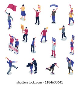 Protesting people with placards and flags during manifestation or picketing set of isometric icons isolated vector illustration