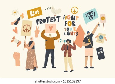 Protesting People with Placards and Signboard on Strike or Demonstration, Male, Female Activist Characters with Banners Protest for Love and Peace on Riot, Picket. Linear People Vector Illustration
