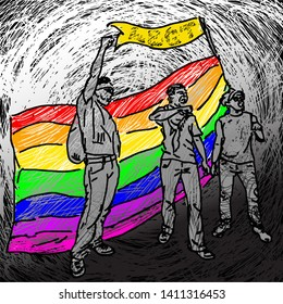 Protestor raising arms with a rainbow flag for the concept of LBGT solidarity. Hand drawn vector illustration.