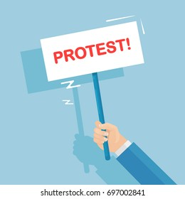 Protestors hold protest sign, placard, banner isolated on background. Activist with poster. Demonstration, revolution, riot, strike concept. Political crisis. Vector illustration. Flat style design