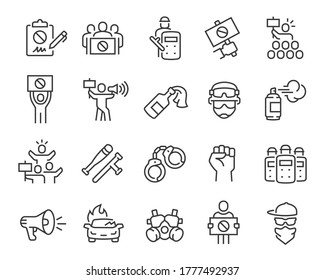 Protests and Revolution Icons Set. Collection of linear simple web icons such as Petition, Military, Arrests, Police, Robberies, Strike and others. Editable vector stroke.