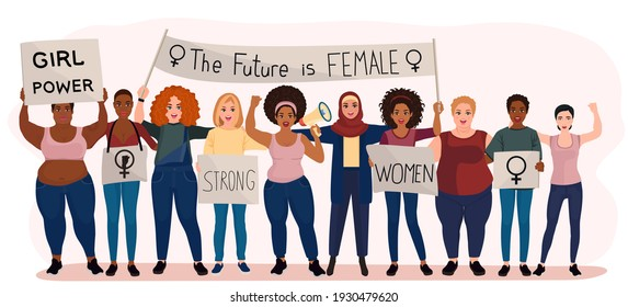 Protests for women's rights. Vector illustration. Isolated on a white background.