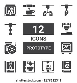 prototype icon set. Collection of 12 filled prototype icons included d printer, Filament, d print, d printing