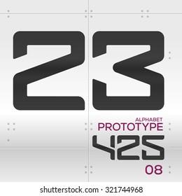 Prototype - Vector graphic alphabet in a set / 2 3 4 5