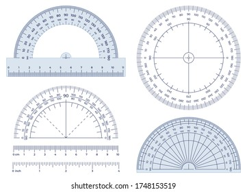 Protractor. Angles measuring tool, round 360 protractors scale and 180 degrees measure vector illustration set. Equipment protractor to angle measure, drafting chart