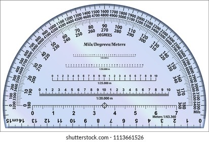 Protractor - Degrees and Mils