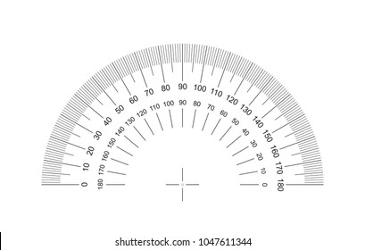 Protractor. Protractor grid for measuring degrees. Tilt angle meter. Measuring tool. EPS10