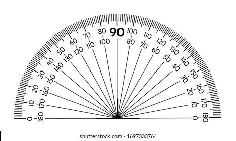 Protractor ruler isolated on the white background
