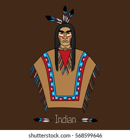 Proud American Indian in color clothes. Isolated on a white background