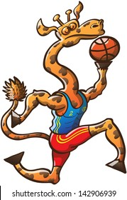 Proud long-necked giraffe playing basketball, jumping high, holding the ball and going for a slam dunk
