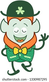 Proud Saint Patrick's Day Leprechaun with red beard, pointy ears and traditional hat smiling enthusiastically while walking, waving and exhibiting elegant bow tie and costume decorated with clovers