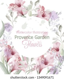 Provence flowers wreath Vector watercolor. Lavender delicate pastelate colors