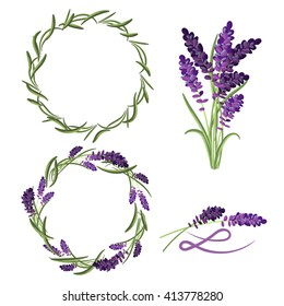 Provence lavender flower bouquet set. Violet lavender wreaths and laurels. L letter badge sign.