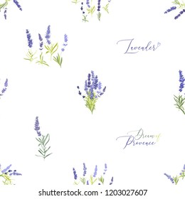Provence lavender seamless pattern background. Digital illustration in watercolor style. Hand drawn painting of lavender branches, bouquets and flowers.