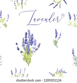 Provence lavender seamless pattern background. Digital ilustration in watercolor style. Hand drawn painting of lavender branches, bouquets and flowers.
