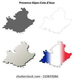 Provence-Alpes-Cote d'Azur blank detailed outline map set - vector version