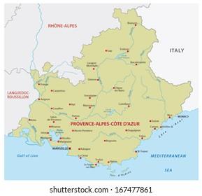 provence-alpes-cote d'?Azur map