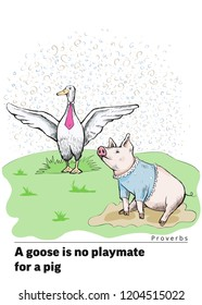 Proverbs and sayings. A goose is no playmate for a pig. A proud goose in a tie stands on the grass with outstretched wings. A piggy sits in puddle in a village shirt. Piglet looks gently at the goose.
