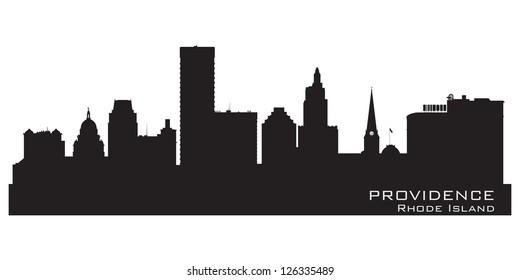 Providence, Rhode Island skyline. Detailed city silhouette. Vector illustration