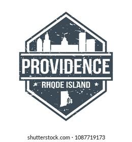 Providence Rhode Island Travel Stamp Icon Skyline City Design Tourism