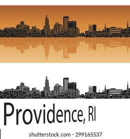 Providence skyline in orange background in editable vector file