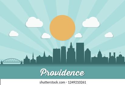 Providence skyline - Rhode Island, United States of America, USA - vector illustratrion