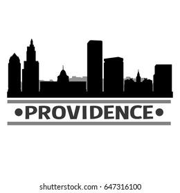 Providence Skyline Silhouette Stamp City Design Vector Art