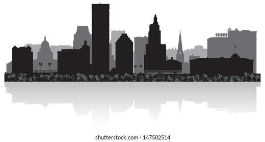 Providence USA city skyline silhouette vector illustration