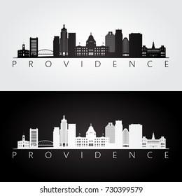 Providence usa skyline and landmarks silhouette, black and white design, vector illustration.