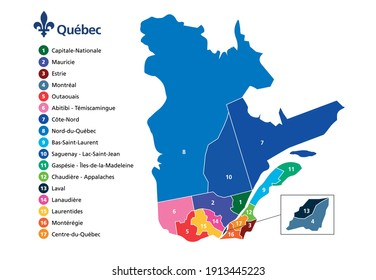 Province of Quebec map with counties borders administrative area