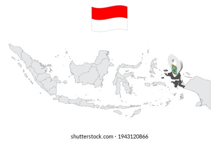 Province West Papua on map Indonesia. 3d West Papua flag map marker location pin. Quality map with Provinces of Indonesia for your web site design, app, UI. EPS10.