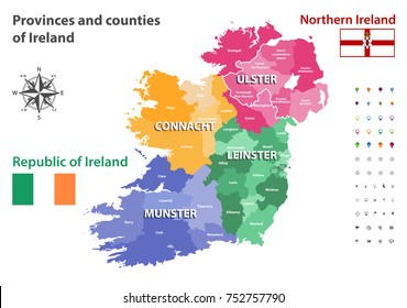 Empty Map Of Ireland.Ireland County Stock Vectors Images Vector Art Shutterstock