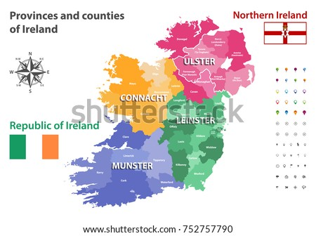 Map Of Northern Ireland Counties.Provinces Counties Ireland Vector Map Stock Vector Royalty Free