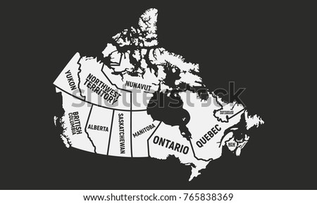 Provinces And Territories Of Canada Map.Provinces Territories Canada Canadian Map Poster Stock Vector