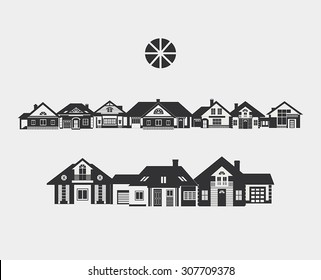 Provincial street. Border of silhouettes of different small houses. The architecture of a small town or in the countryside.
