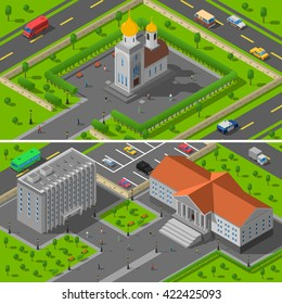 Provincial town summer landscape 2 isometric banners composition with classical christian church building abstract isolated vector illustration
