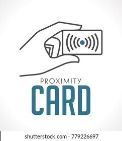 Proximity card logo - hand with card concept